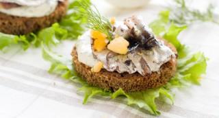 Tartine aux anchois sauce aneth