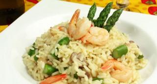 Risotto aux crevettes et asperges