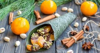 Clémentines au chocolat et éclats de pistache