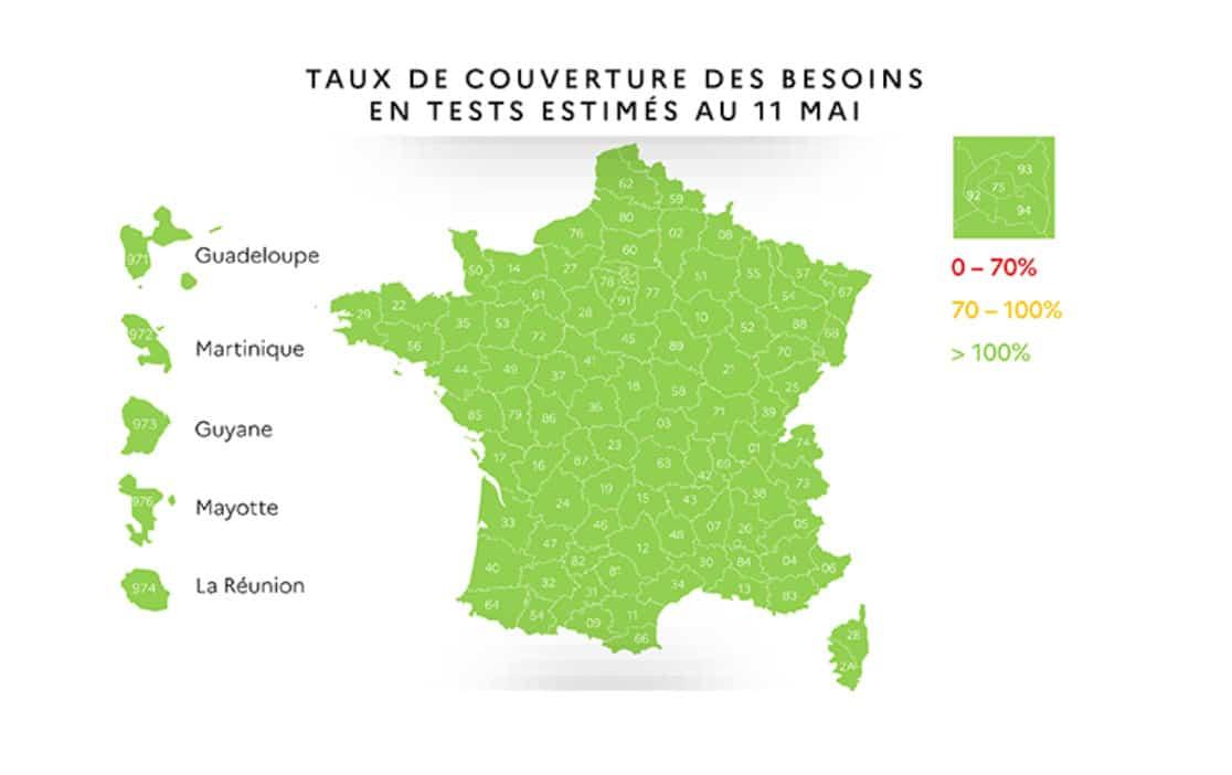 Carte du Covid : couverture des besoins en tests estimés au 11 mai